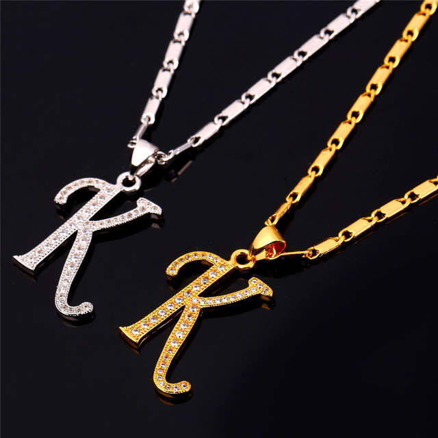 Starlord Initial K Letter Pendants Necklaces Women Men Personalized Gift Alphabet Jewelry Gold Color