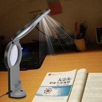 Multifunktions Faltbare USB Lupe 2 Objektiv High Power LED Beleuchtung Schreibtischlampe 3X/6X/4.5X Lupe für lesen Hilfe