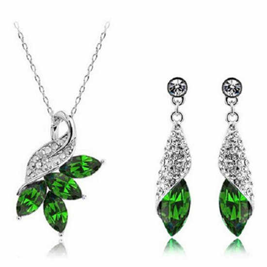 SHUANGR Fashion Women Jewelry Sets Austrian Crystal Necklace Earrings set Pendant Chain Necklaces for Woman Gift