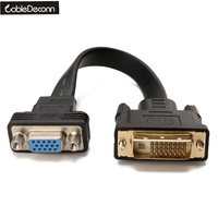Active DVI D 24 1 Male To VGA 15Pin HDTV Female Monitor USB Adapter Connector Flat