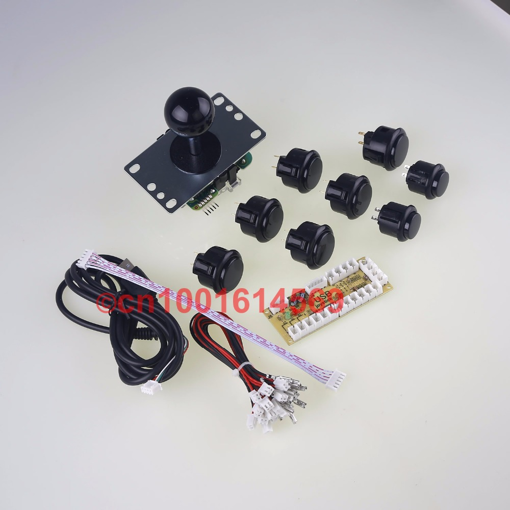6 X Original SANWA Push Buttons & 2 X Reyann Arcade Buttons + Sanwa Stick + PC Encoders Board For Arcade Mame & Retropie 3B Game