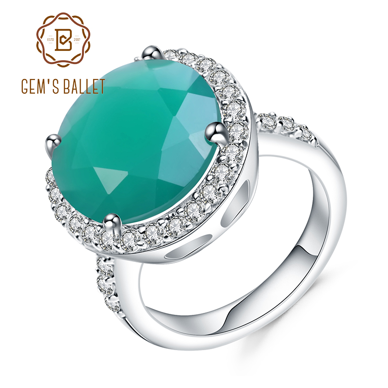 GEM'S BALLET 4.79Ct Natural Green Agate Gemstone Ring 925 Sterling Silver Vintage Halo Cocktail  Rings For Women Fine Jewelry
