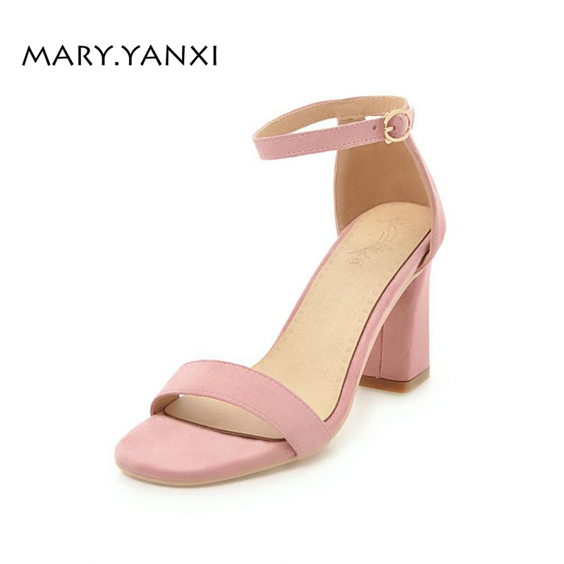 Summer Women Sandals Shoes Flock Nubuck Sweet Fashion Casual Buckle Strap Ankle Strap Solid High Square Heels Cover Heel xiaying smile summer new woman sandals platform women pumps buckle strap high square heel fashion casual flock lady women shoes page 9