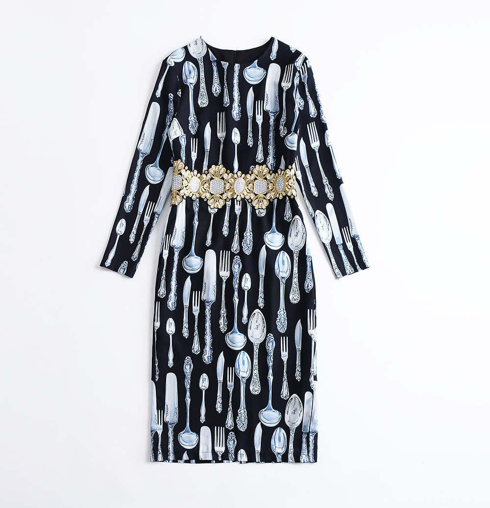 As Ligne De Femmes Manches Robe Nouvelle À Automne Robes Parti Broderie Vintage Picture Imprimé Longues Or Vaisselle Vevefhuang Slim wqxTHt