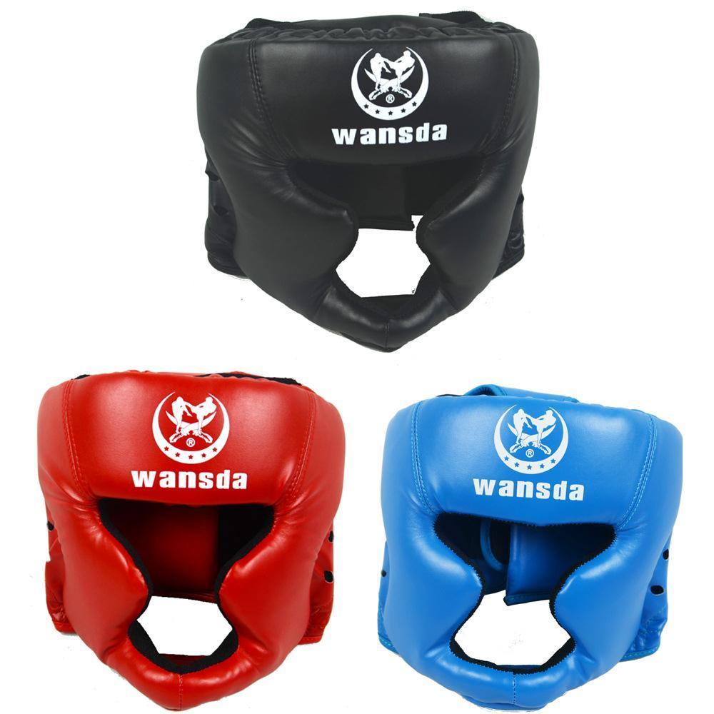 Prix pour ROUGE/NOIR/Bleu Fermé type de boxe head garde/casque Sparring MMA Muay Thai kickboxing accolade Head protection Casque de sécurité