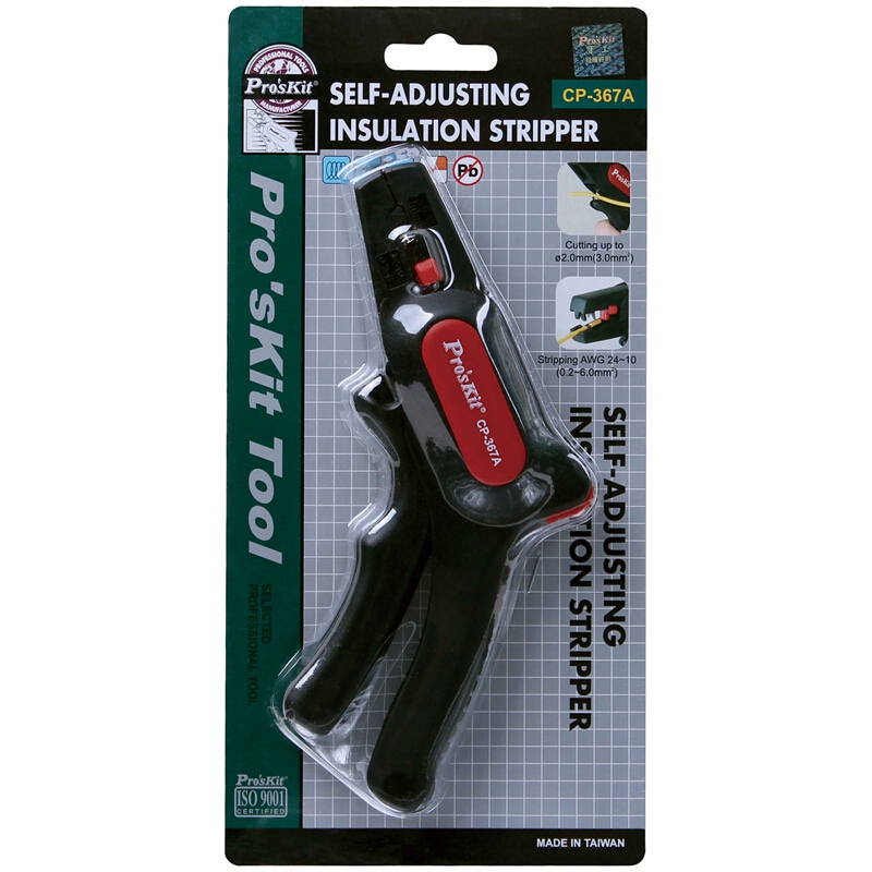 Купить с кэшбэком Pro'sKit CP-367A wire stripping Self Adjusting Insulation Gun type automatic wire stripper (AWG 24~10/0.2~6.0MM) Cable Cutter