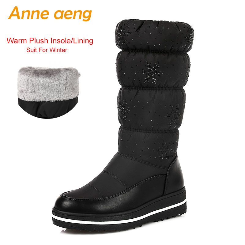 2018 New Winter Women Mid-Calf Boots Middle Heel Round Toe Slip-On Waterproof Sexy Ladies Women Shoes Black Warm Down Snow Boots band one yona winter snow boots women australia high quality mid calf slip on round toe 2018 size 34 44 new suggest boots black page 1