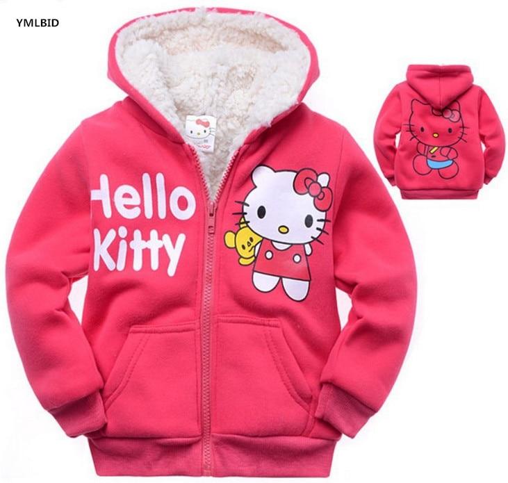 YMLBID 2017 Bērnu meitenes Hello Kitty mētelis Kapuci kažokādas džemperis Ziemas siltās jakas Bērnu virsdrēbes bērnu apģērbi mazumtirdzniecībā