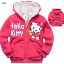 YMLBID 2017 Baby girls Hello Kitty coat Hooded fur Sweater Winter Warm