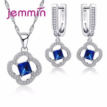 Jemmin Lovely 925 Sterling Silver Pendants Necklaces Earrings Set For Engagement Party Gift Woman Austrian Crystal Jewelry Sets