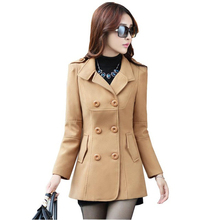 Women Woolen Coat Autumn Winter New Female Slim Blends Overcoat Plus size Middle Long Epaulet Adjustable Waist Coat  kl339
