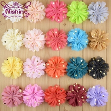 Nishine 120pcs/lot 22 Colors 3.2 Dots Chiffon Ruffled Flowers Sewed Ballerina Hair Flower For Diy Kids Girls Accessories