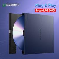 Ugreen USB Optical Drive External USB 2.0 CD/DVD ROM Combo DVD RW ROM Burner for Dell Lenovo Laptop Windows/Mac OS USB DVD Drive