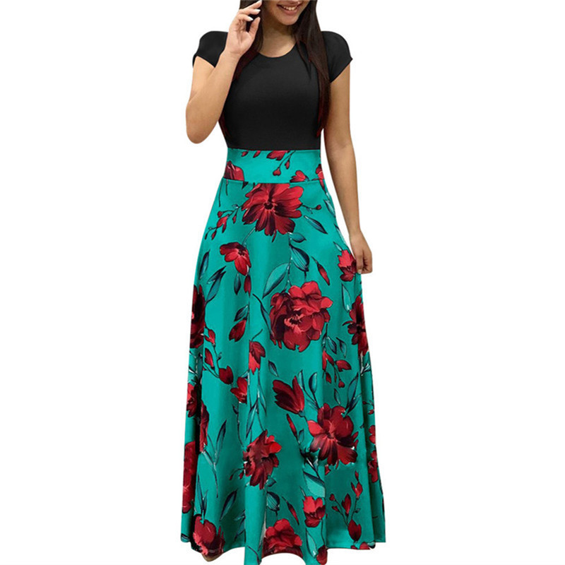 Summer Women Dress 2019 Boho Patchwork Floral Print Short Sleeve Long Dress Ladies Party Maxi Dresses Sexy Bodycon Dress Vestido summer casual bodycon dresses