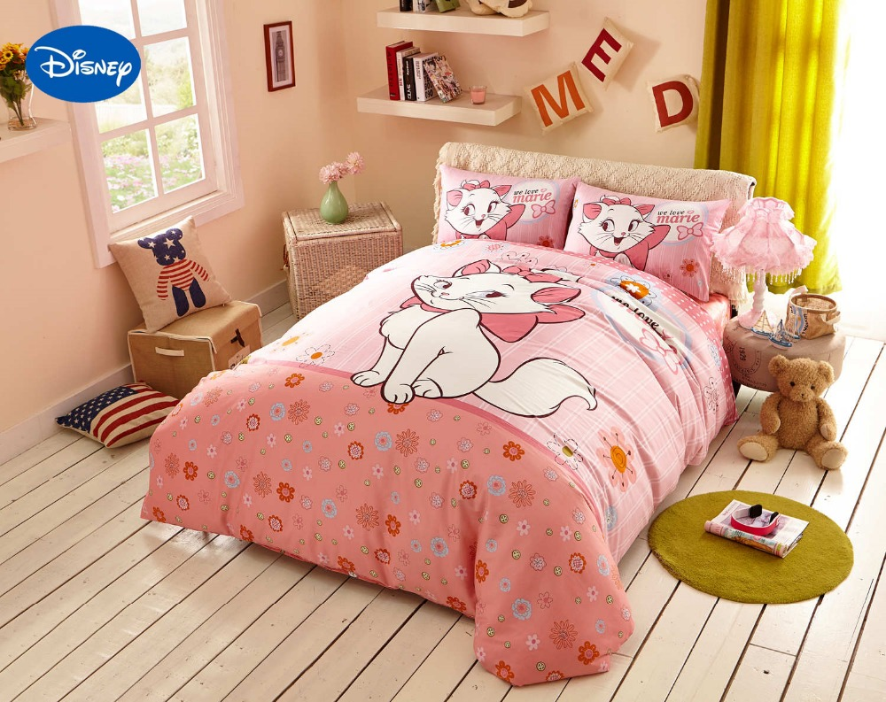 Duvet Covers And Comforters Us 95 99 Pink Cartoon Disney Marie Cat Bedding Set Girls Bedroom Decor Cotton Bed Duvet Cover Comforters Single Twin Full Queen King Size In Bedding