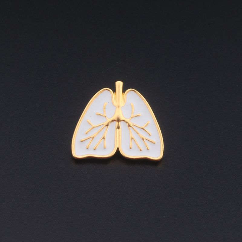 Cute Anatomical Heart Brooch Gold White Enamel Anatomy Human Organ Heart Broches and Pins Enamel Pin Medical Jewelry