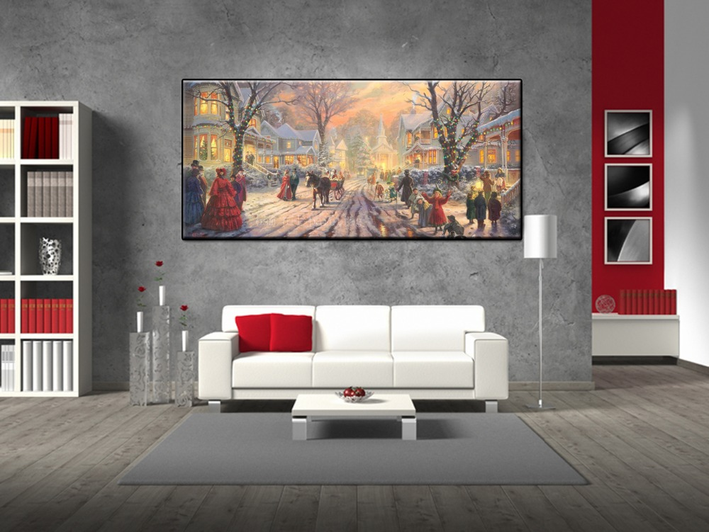 Christmas Gift Hand Painted Beautiful New Year Christmas Landscape in the Street Oil Painting on Canvas Unique Wall Art Decor