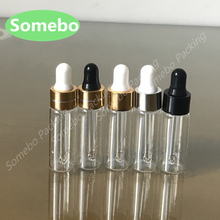 50 pz/lotto 5ml Chiaro Contagocce Bottiglia di Vetro, 5cc Trasparente Piccoli Flaconi Con Pipetta Per Cosmetici Bottiglie di Profumo di Olio Essenziale