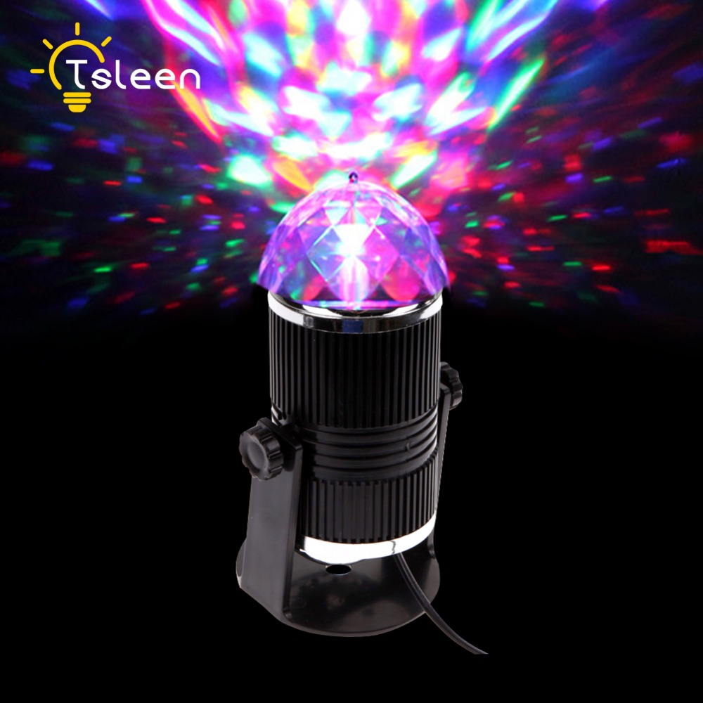 TSLEEN 3W DJ Light RGB Laser Changing Sound Actived Magic Mini Disco Ball Led Stage Lights for KTV Xmas Wedding Party Light