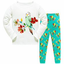 3-8 Years old Girls New Kids Pajamas set Bird Clothes Cartoon Clothing Sets Children Sleepwear suit