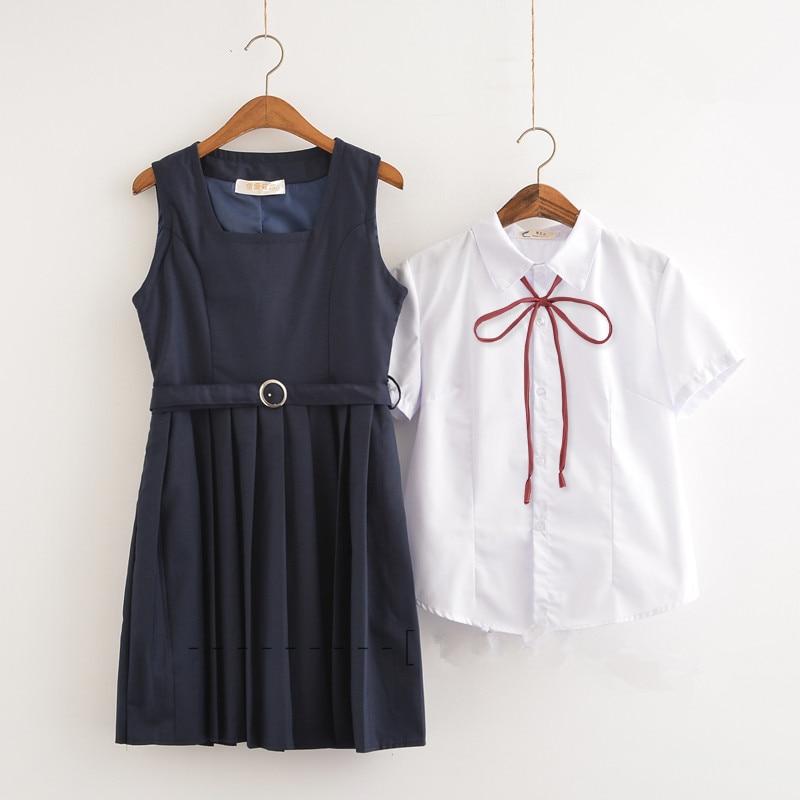 3ed9bc777e 2019 blanco de Verano de la escuela uniformes niñas vestido tendencia  coreana chándal estudiantes vestidos cosplay