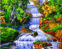 MaHuaf X812 River Runs Through Forset Landscape Painting Coloring By Numbers DIY Hand Painted Canvas Painting