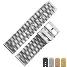 Milan mesh chrome steel bracelet ultrathin watchband strap for Common Skinny watch ticwatch womens or mens model 18 20 22 24