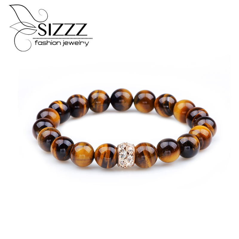 SIZZZ 2017 Hot selling 6MM Diameter jewelry Handmade Beaded brown color Bracelet&bangles for women
