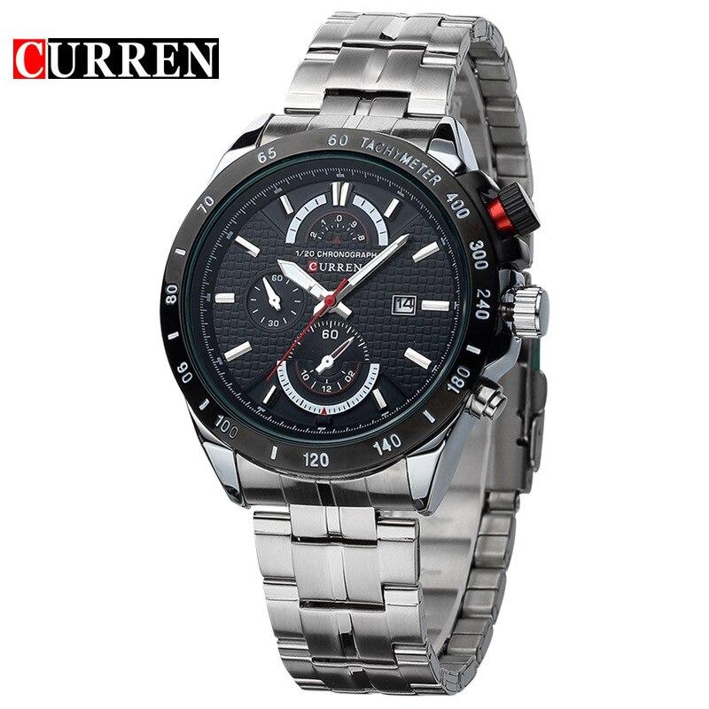 CURREN Casual Sports Full Steel Quartz Men's Watch Relogio Masculino Mode Fashio