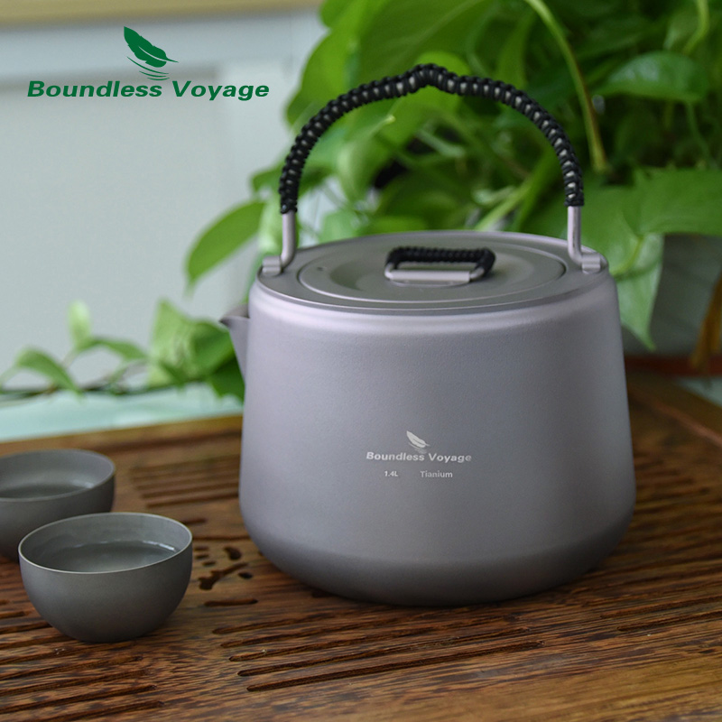 Boundless Voyage Outdoor Camping Titanium Kettle with Filter Anti scalding Handle Lid fit Induction Cooker Coffee Tea Water 1 4L in Outdoor Tablewares from Sports Entertainment