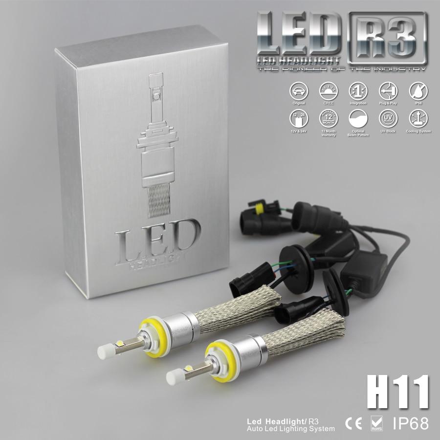 Hot Sell Car LED Headlight Kit H11 CREE XHP-50 Xenon White 6000K Super Bright 4800LM 40W Each Bulb Car Styling Led Light  Lamp