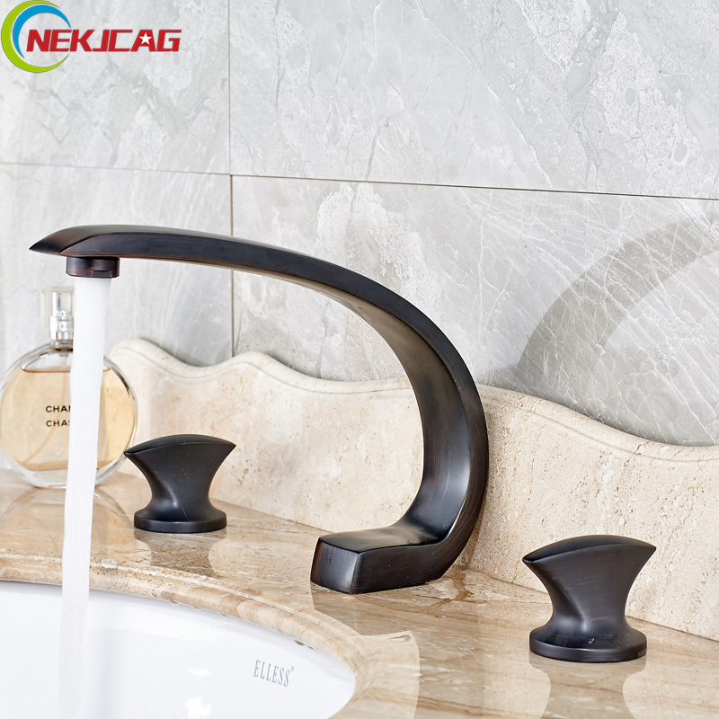 New Design Widespread Dual Handle Basin Mixer Water Taps Deck Mounted 3 Holes Bathroom Washing Basin Tub Sink Faucet nickel brushed 3 holes widespread basin sink faucet dual handle bathroom washing mixer taps