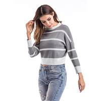 High Quality Cashmere Sweater Women Winter Pullover Striped Knitted Sweater Top For Women Autumn Female Oversized