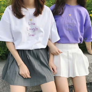 Summer New Fashion BFF T Shirt Women Harajuku Short Sleeve Ulzzang T-Shirt Cute Letters Print Tshirt Top Tees Female