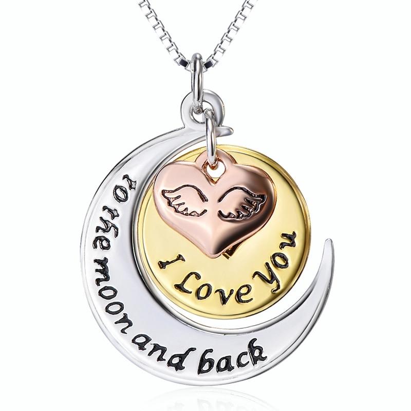 925 Sterling Silver Fine Jewelry Love Moon Heart Pendant Necklace Choker Women Girls Party Collar Gift Jewels CHX11434