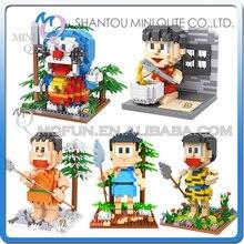 Full Set 5pcs lot Mini Qute Kawaii loz Anime Doraemon cartoon block plastic action figure building