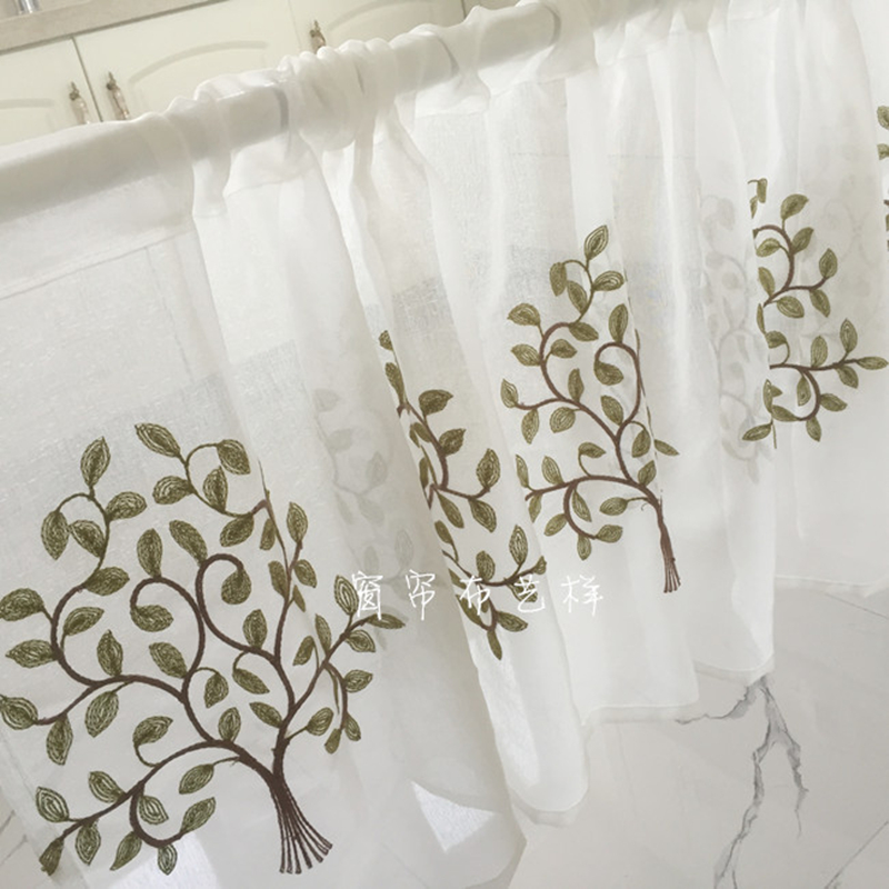 Tulle Curtain Fashion Coffee Yarn Green Tree Embroidery Pure White Curtain For Bar Kitchen Cabinet Door Children's Room