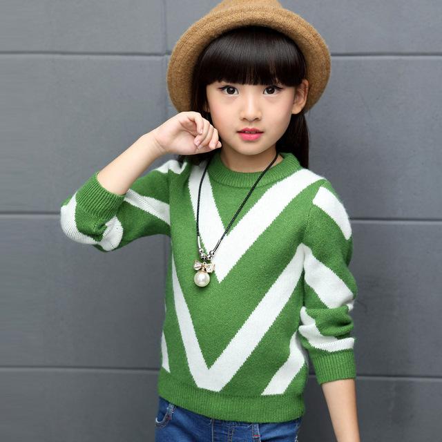 Roupas Para Meninas Marca de Moda de inverno 2016 das Crianças Outwear Quente Grosso Blusas de Tricô Crianças Menina O-pescoço Pulôveres De Lã Quente