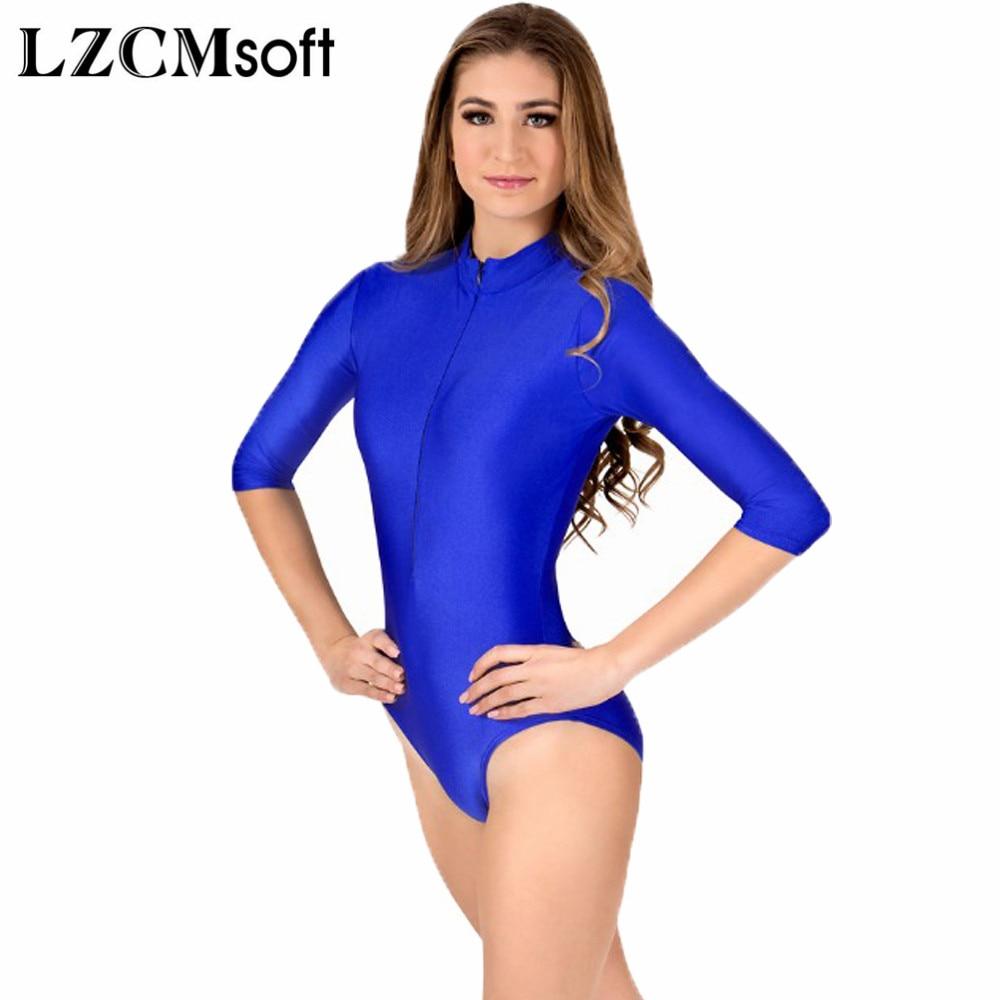 Lzcmsoft feminino sexy azul real 3/4 manga longa ballet dança ginástica collants elastano náilon uma peça curto unitards dancewear