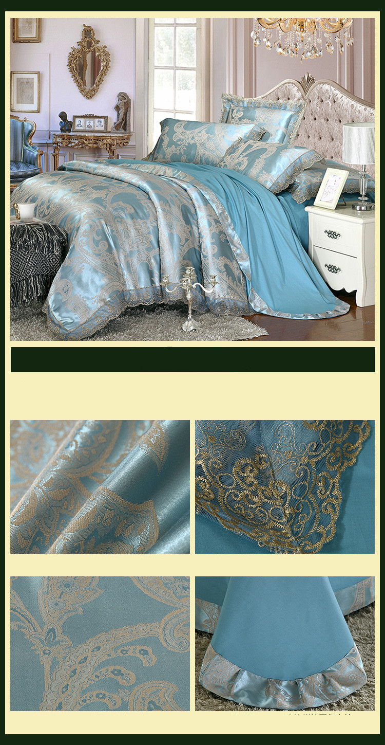 New Luxury Embroidery Tinsel Satin Silk Jacquard Bedding Set, Queen, King Size, 4pcs/6pcs 21