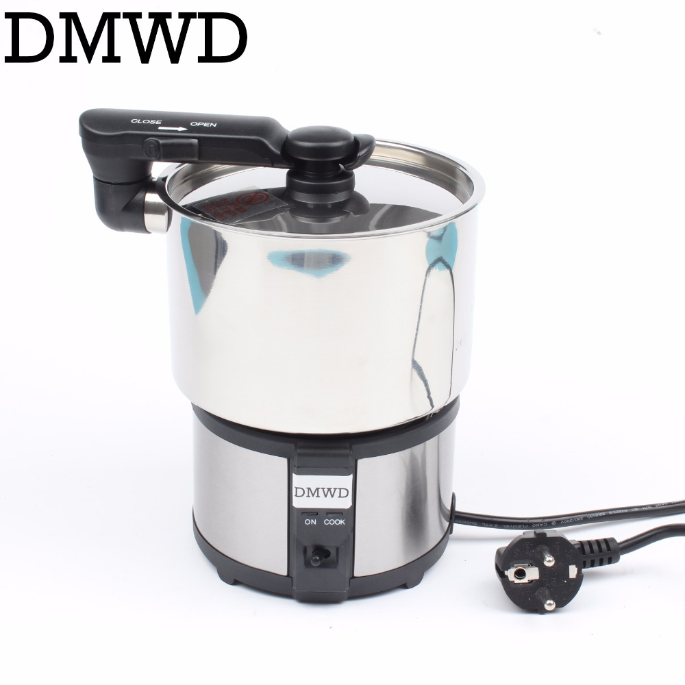 DMWD Mini electric rice cooker food steamer small portable stainless steel pot frying pan travel Soup cooking skillet 110V 220V cukyi stainless steel electric slow cooker plug ceramic cooker slow pot porridge pot stew pot saucepan soup 2 5 quart silver