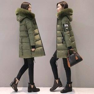 Image 3 - Parka kobiety zimowe płaszcze długa z bawełny swobodne futro z kapturem kurtki damskie grube ciepłe zimowe parki kobiet płaszcz płaszcz 2019 MLD1268