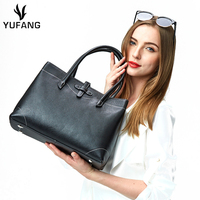 YUFANG Ultralight Women Bag Genuine Leather Handbags For Ladies Black And Grey Female Hand Bag All match Daily Shopping Bag