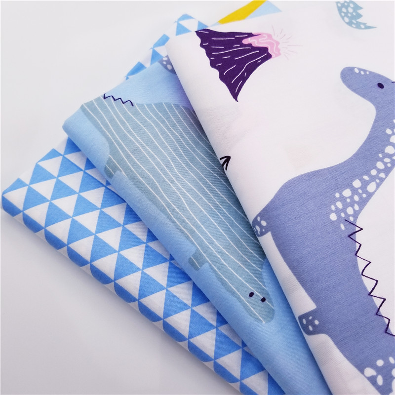 Cartoon Style Dinasour Printed Cotton Twill Patchwork Fabric Quilting Material DIY Handmade High Quality Cloth For Child