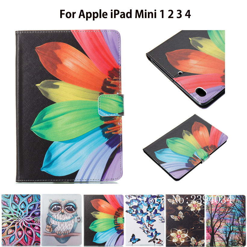 Fashion Painted Case For Apple iPad Mini 1 2 3 4 Smart Case Cover Funda Shell PU Leather Flip Cat butterfly Pattern Stand Shell