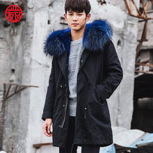 CR101 Men's genuine fox fur coat winter warm real natural fox fur long jacket with hooded