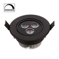 Black Body 110V 220V Dimmable 9W Led Downlight Round Ceiling Recessed Spot Led Light Lamp IP40