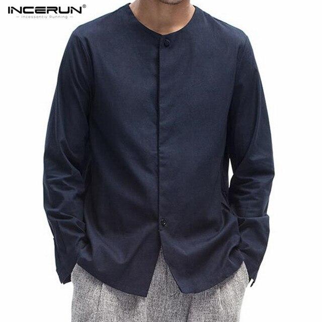 INCERUN Hommes de Style Chinois Solide À Manches Longues Col Chemise Hommes  Casual Slim Fit Coton 07d692382e0c