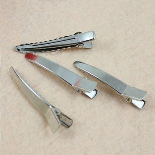 Free shiping,4.5cm Silver Single DIY Metal Clip Alligator Clip Hair Bow Korker Prong Clip