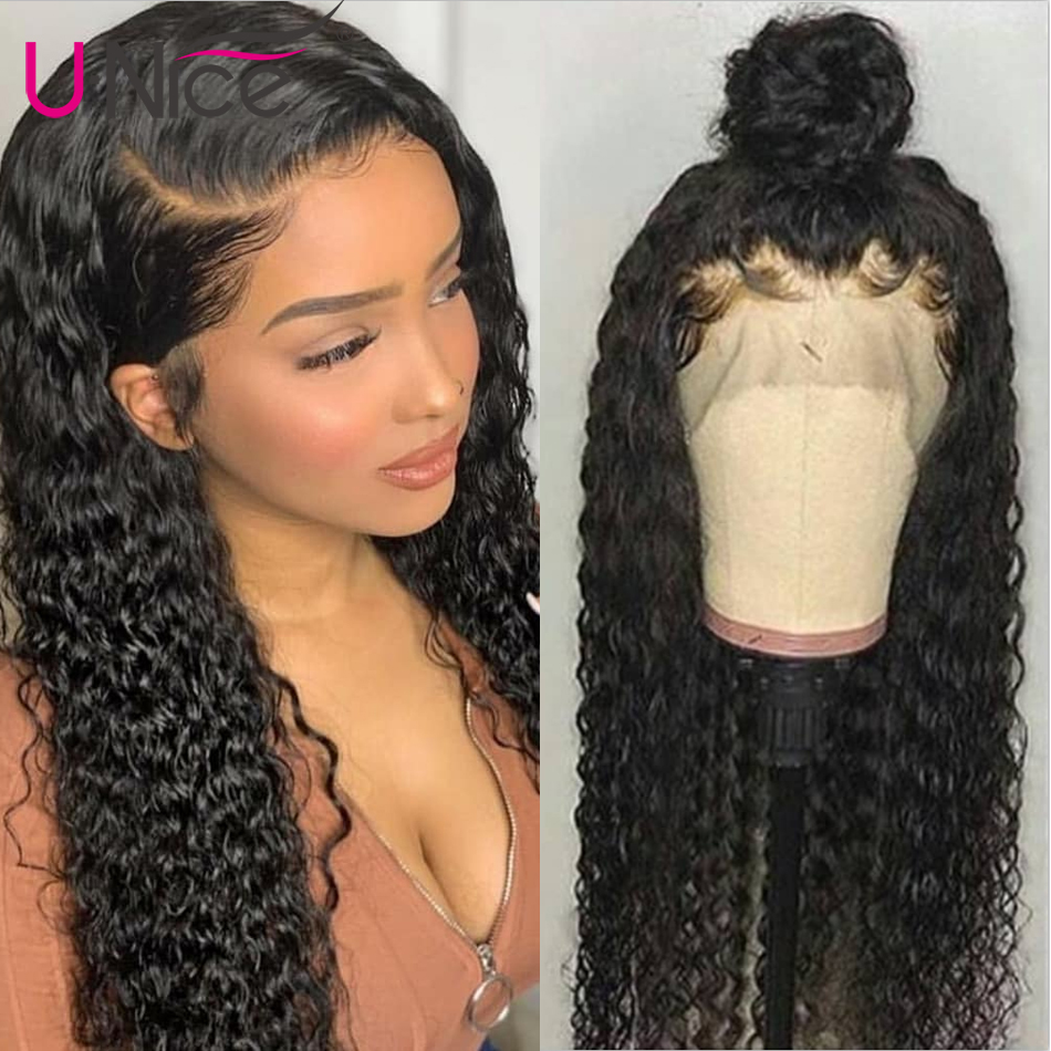 Unice Hair Brazilian Curly Human Hair Wigs 14-24 Inch Full Lace Human Hair Wigs For Black Women Curly Human Hair Wigs(China)